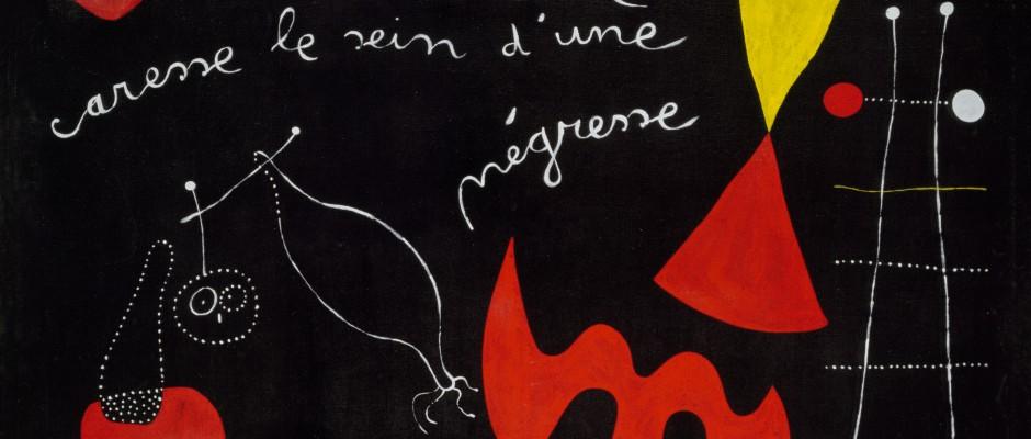 """Joan Miró (1893-1983): Peinture-poème (""""Une étoile caresse le sein d'une négresse"""") (Bild-Gedicht [""""Ein Stern liebkost die Brust einer Schwarzen]), April 1938, Tate, London, © Successió Miró / VG Bild-Kunst, Bonn 2015"""