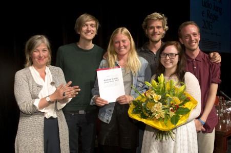 Preisträger 2015: v.l.n.r. Anja Paehlke,  (Mitglied im Vorstand der Koerber-Stiftung), Matias Askvik, Marthe Sofie Lokeland Eide, David Jensen, Ylva Owren und Anders Firing Aardal Bild: Körber-Stiftung /Krafft Angerer